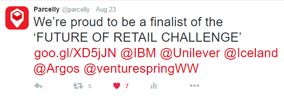 Parcelly amongst top finalists at 'The Future of Retail Challenge 2016', August 23rd 2016