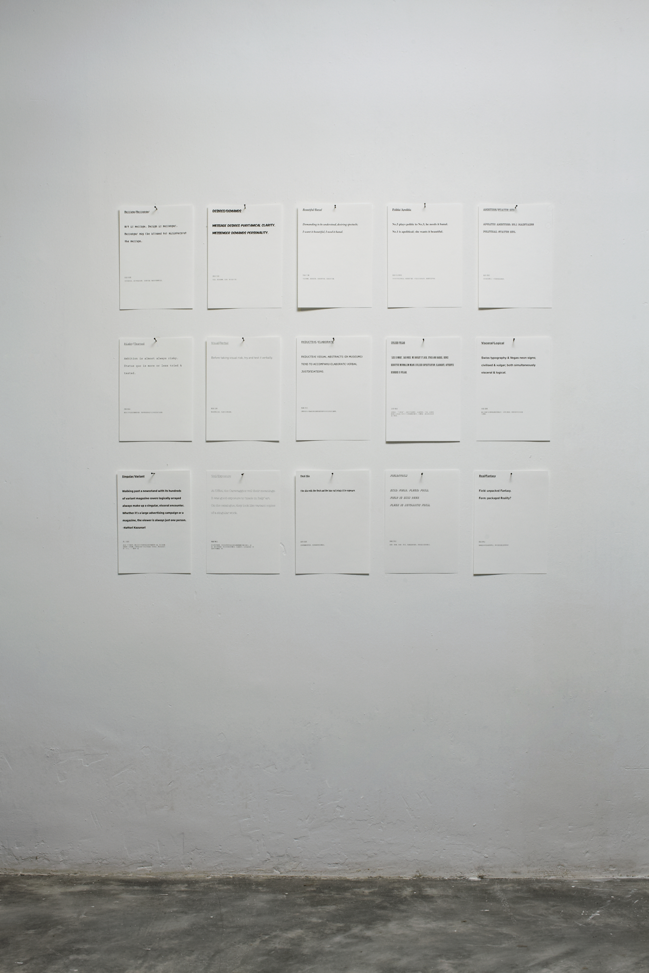 Boedi Widjaja, Beautiful/Banal15 sheets of A4 paper with text, 2009Demanding to be understood, desiring spectacle;I want it beautiful, I need it banal. -