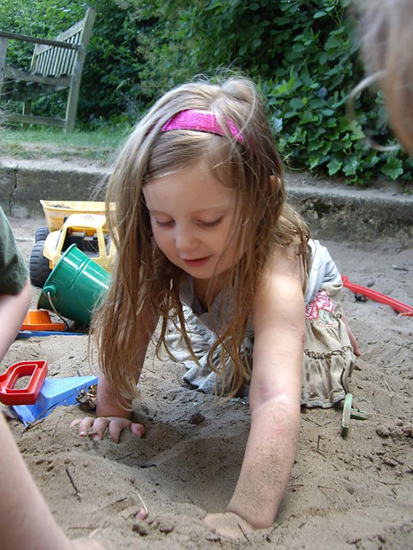 Our sandpit is very tactile and a great sensory resource
