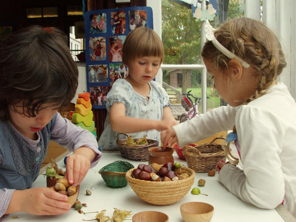 Sorting, mixing and making 'recipes' with nuts and other natural loose parts