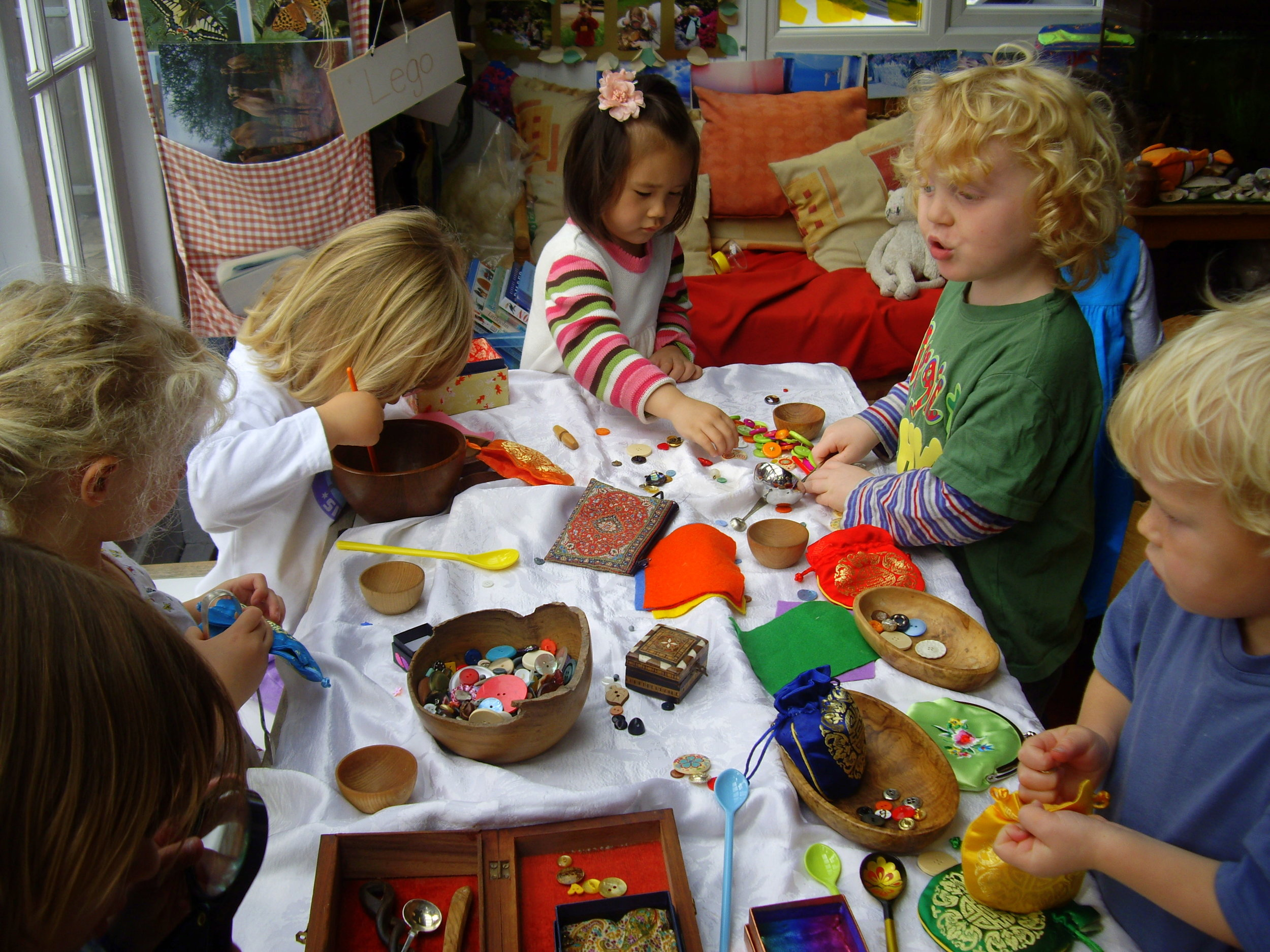 Buttons are used here for many sorting, pattern making and matching activities