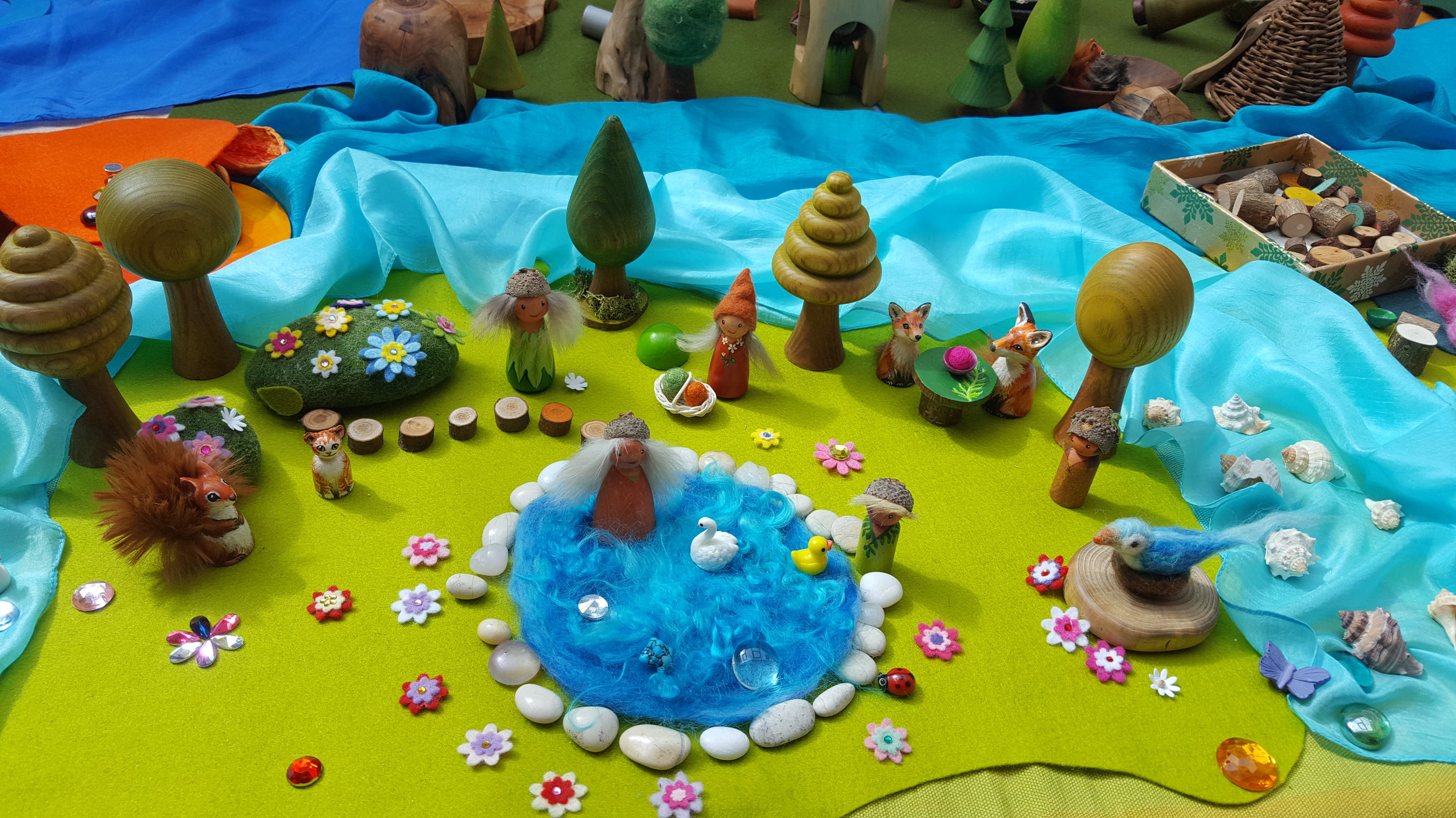 Small world play with simple beautiful pieces is immensely engaging