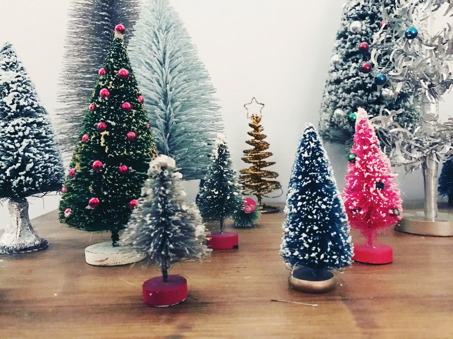 Maddie's Christmas tree collection.