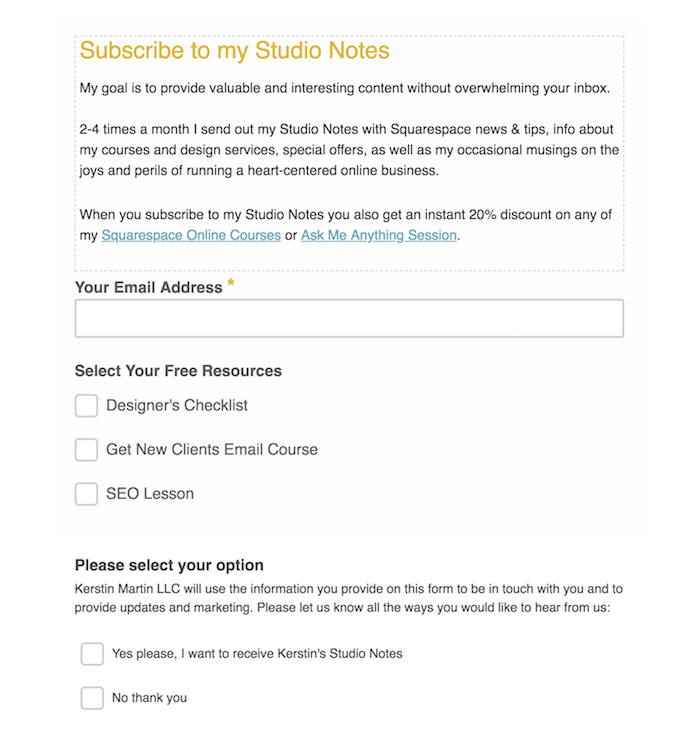 Mailchimp Sign Up Form with Groups and GDPR fields turned on