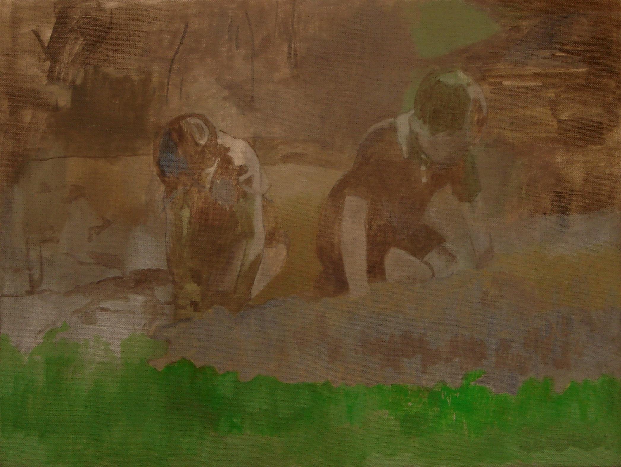 """Ben Walker """"Zahrada pro děti"""" (Garden for children) oil on linen 59cmx74cm £1200"""
