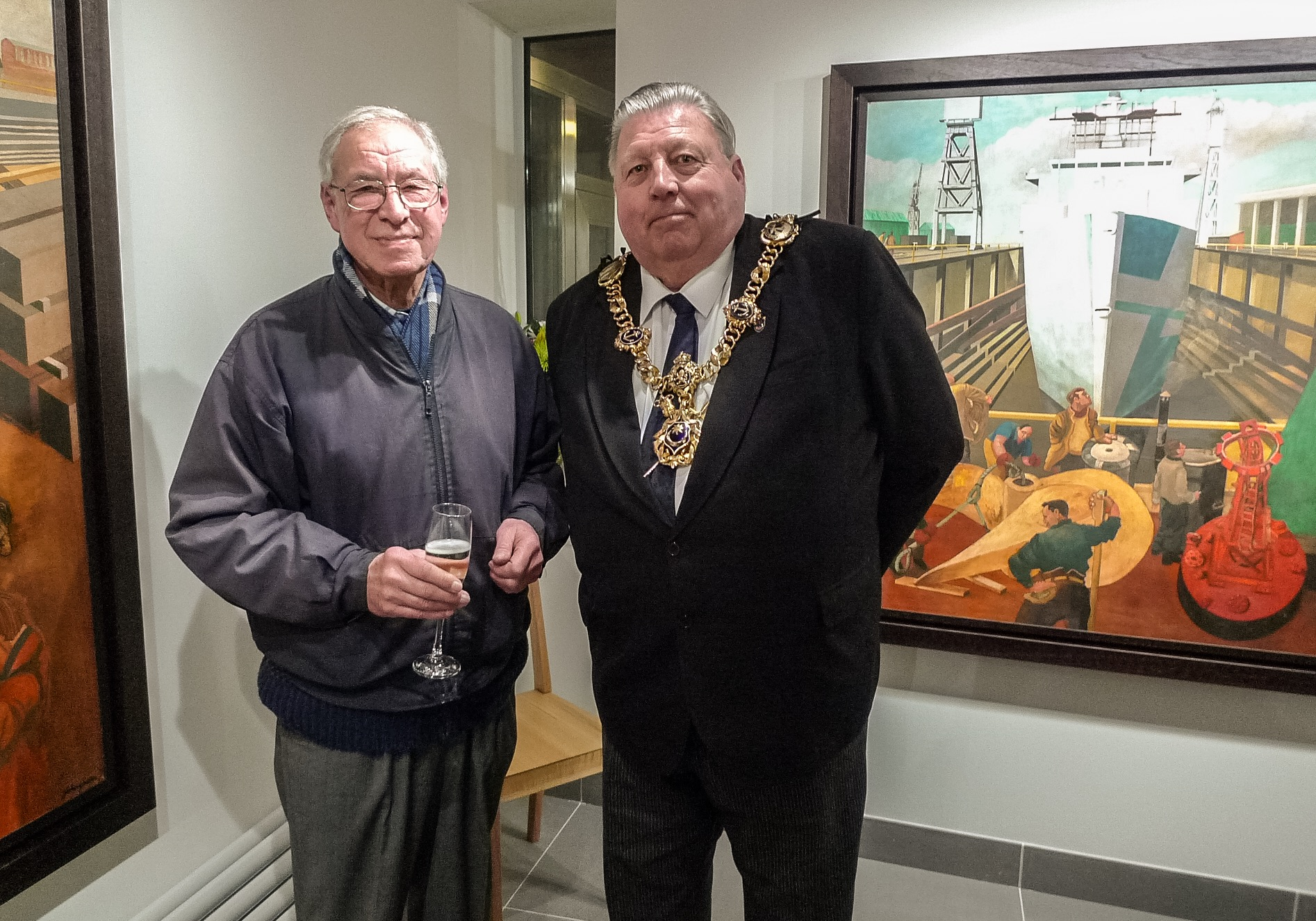 Councillor Frank Jonas with artist John Green at the opening of his show Dockies curated and produced by Rebecca Crow at Jack House Gallery. photo © Anna Burdick