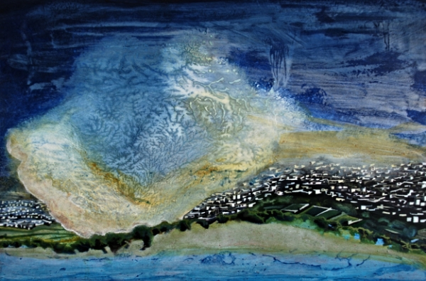 ©Ann Quinn 'Sandstorm Over Isfahan' oil on panel, 30cmx20cm £680