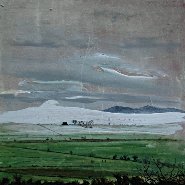 ©Ann Quinn 'Fog Down In The Burn Fields' oil on board, 25.5cmx25.5cm £590