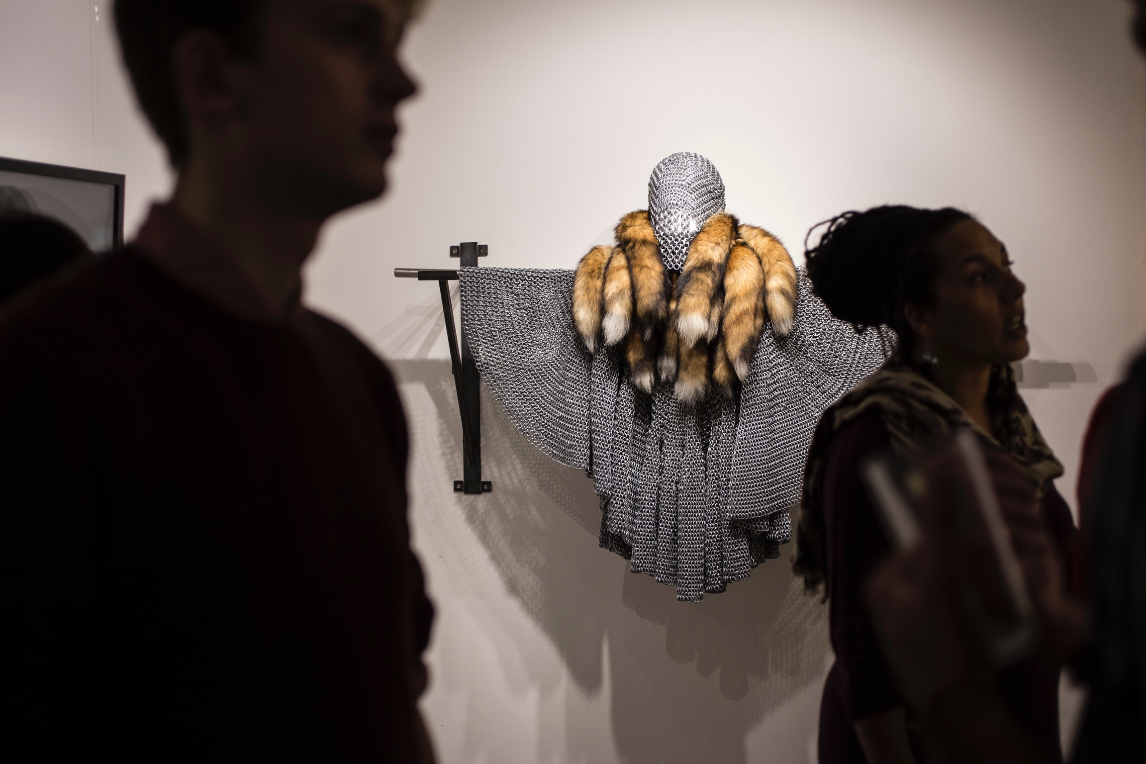 The 'Chainmail' on display in the gallery and weighing in at 65kgs was worn by Solomon Golding in the film. Photo ©Anna Burdick