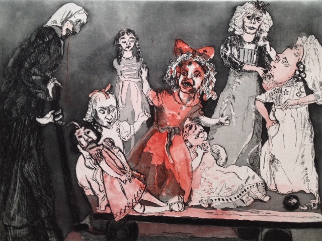 'Death Goes Shopping' Lithograph by Paula Rego included in the De Luxe edition of 'I Have Found a Song'