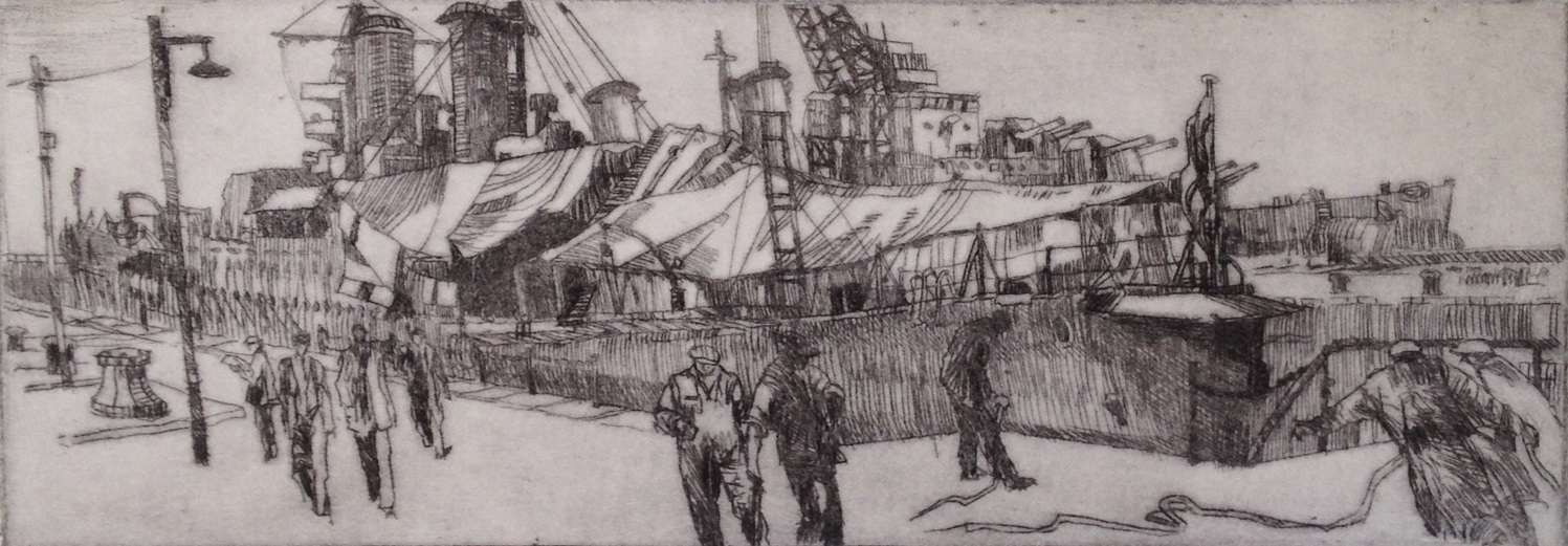 'Ship Undercover' Drypoint A/P Image 35x11cm Mount 30x40cm £190