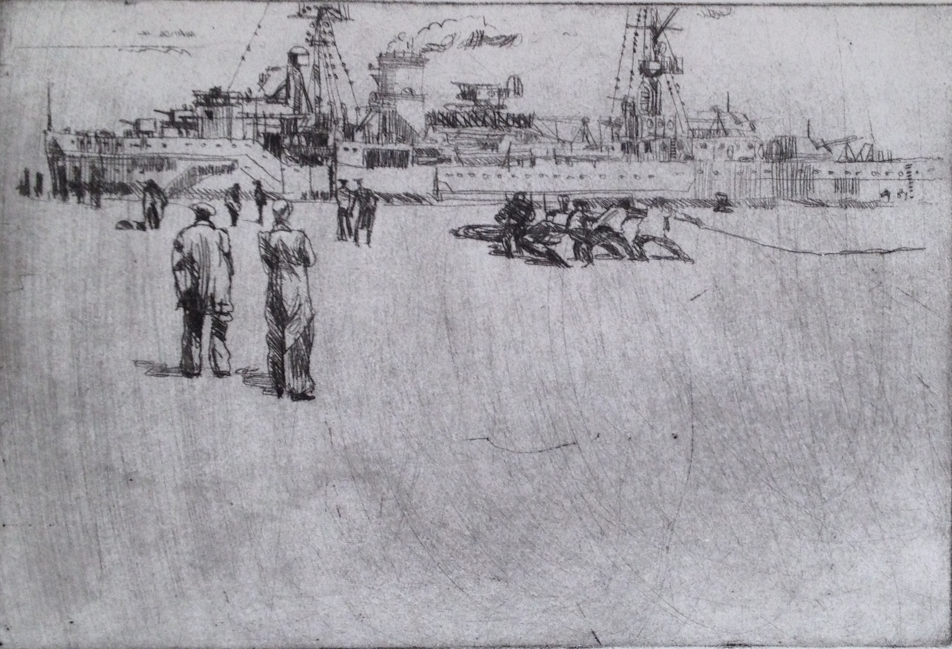 'Ship Alongside' Drypoint A/P Image 30x20.5cm Mount 30x40cm £200