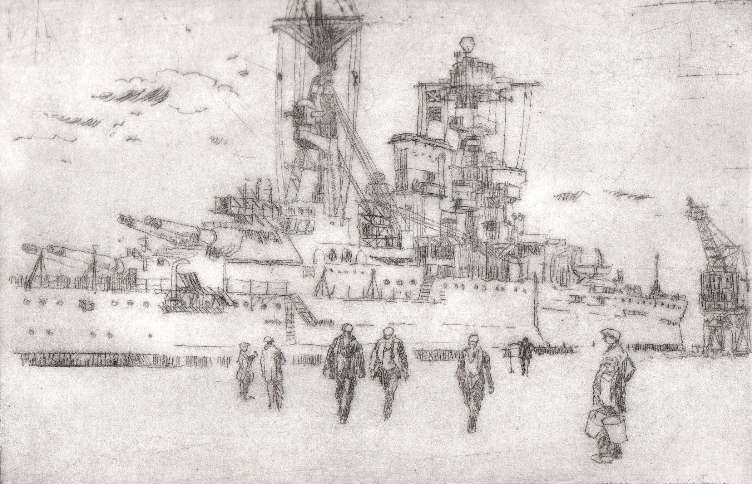 'Ship Alongside II' Drypoint A/P Image 13.5x20.5cm Mount 30x40cm £190