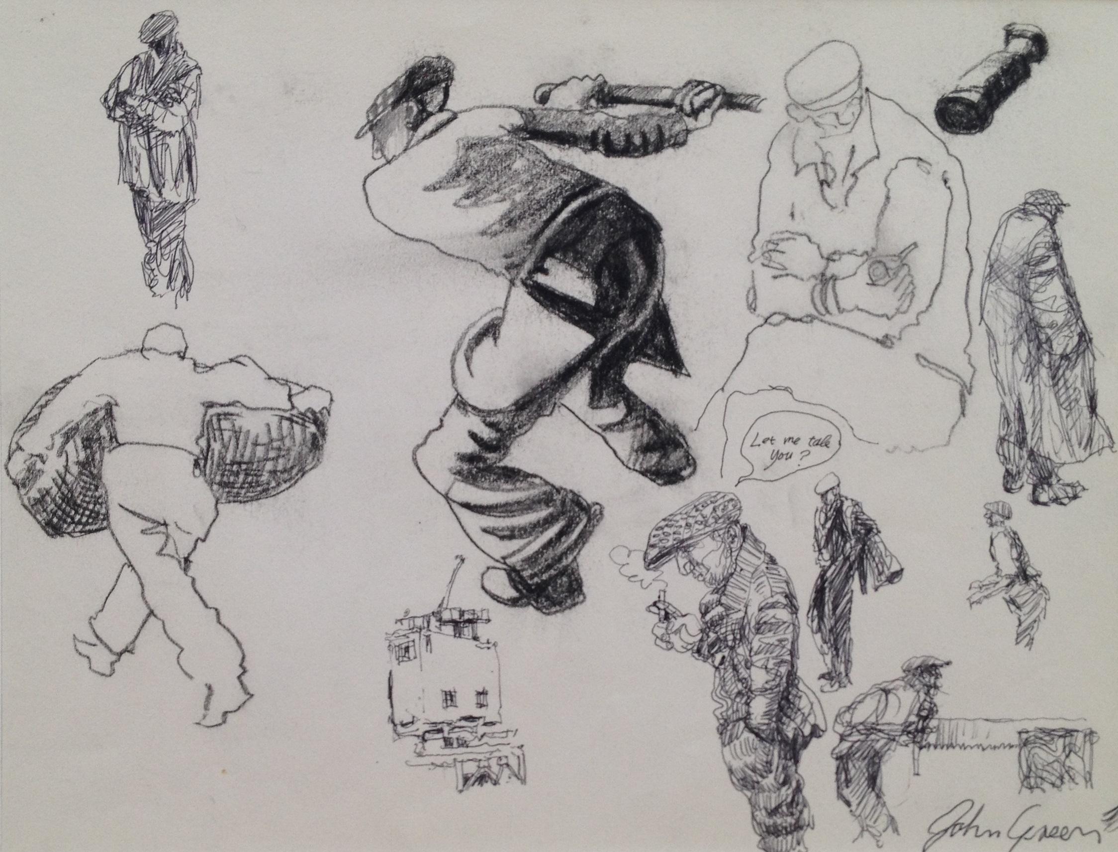 'Sketchbook studies' drawings Image 20x29cm Mount 30x40cm £150