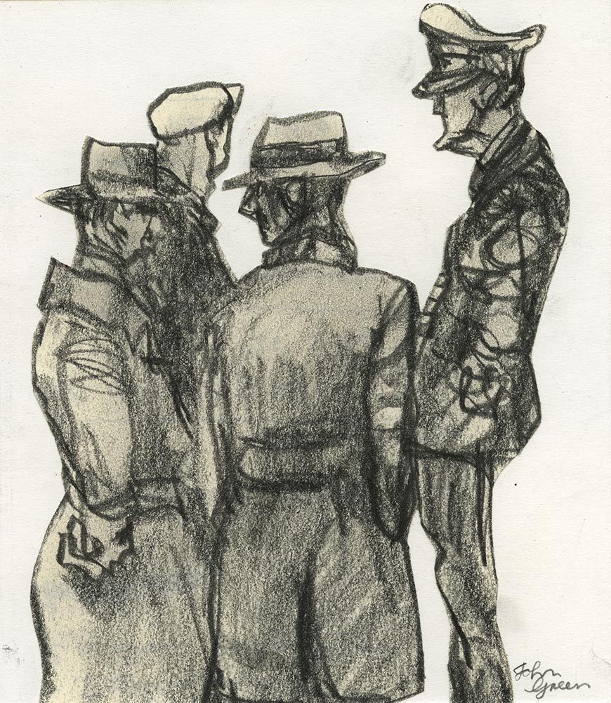 'The Captain' Conte drawing Image 15x17cm Mount 30x40cm £250