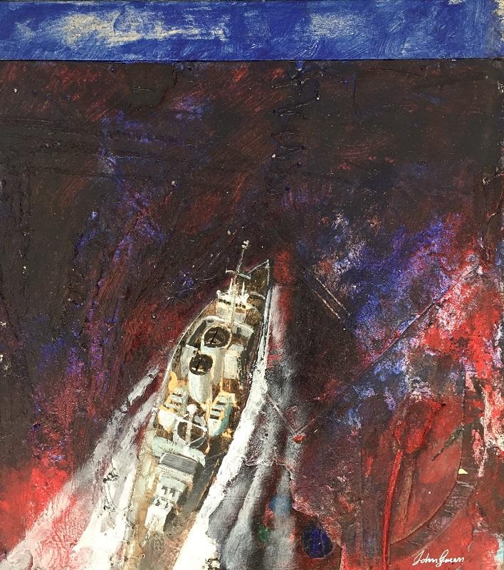 Purple Sea mixed media on board 29.5x32.5cm £450