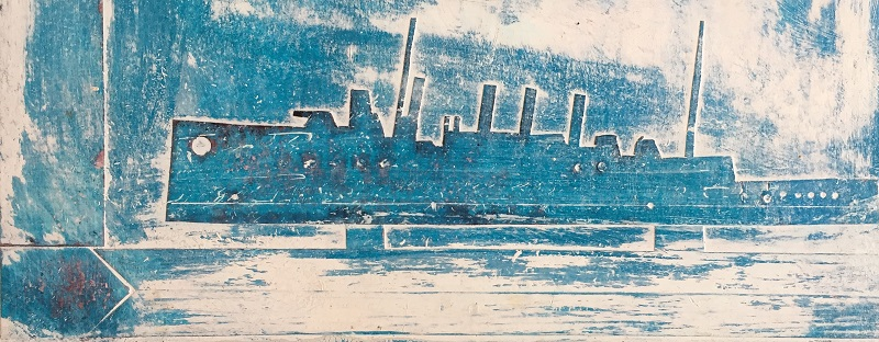 Blue Ship mixed media 29x11cm framed 40x24cm £160