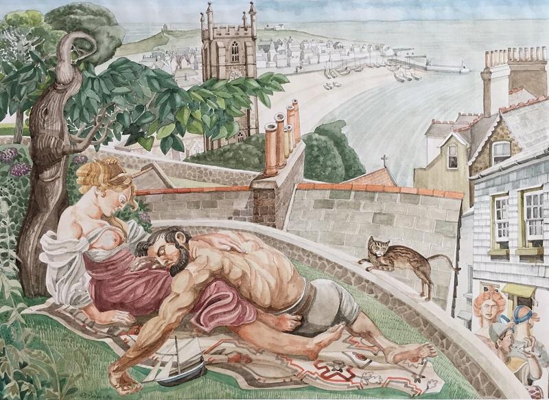 Samson & Delilah in St Ives watercolour 38x27cm (frame 53x42cm) £500