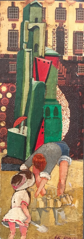 Building Sandcastles mixed media collage 9x26cm £220 SOLD