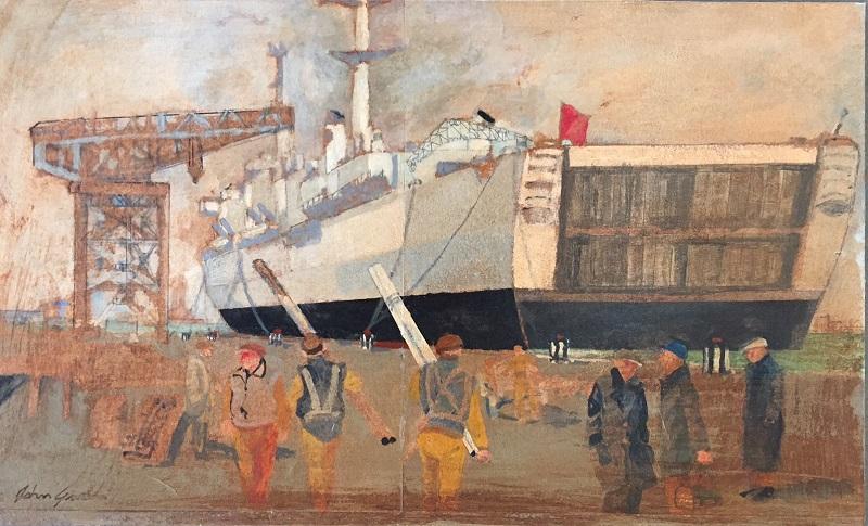 Twilight Dockyard mixed media on board 35.5x23cm £420