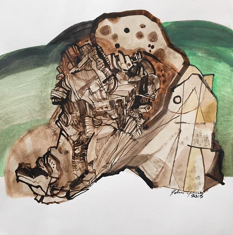 Tree Stump Study ink and watercolour 24x24cm frame 40x40cm £250