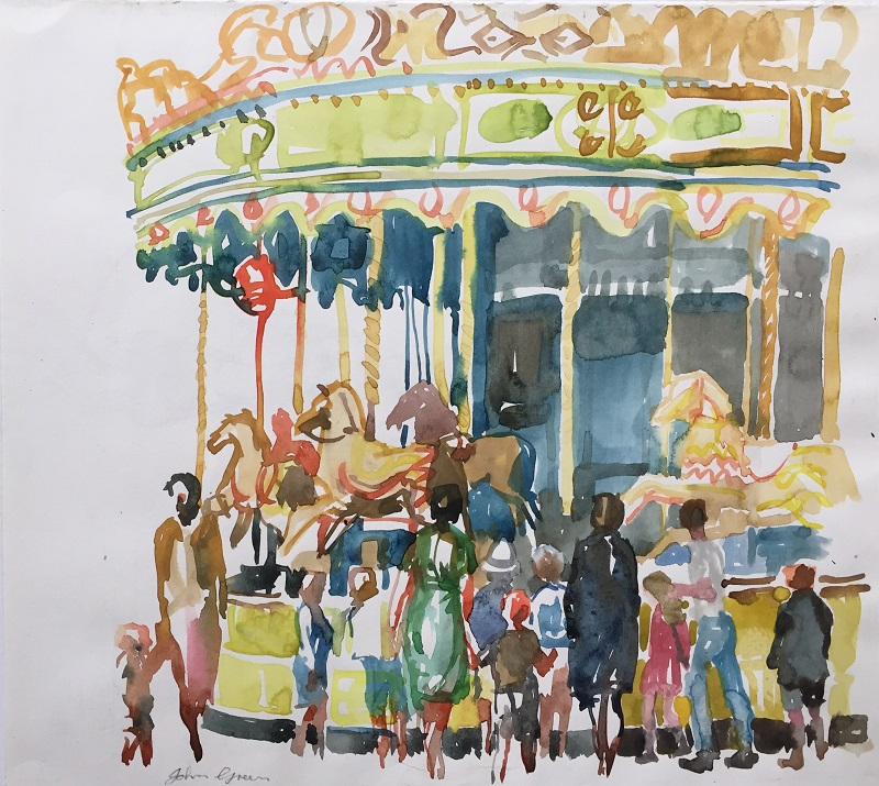 Carousel watercolour 27x27cm frame 40x40cm £250 SOLD