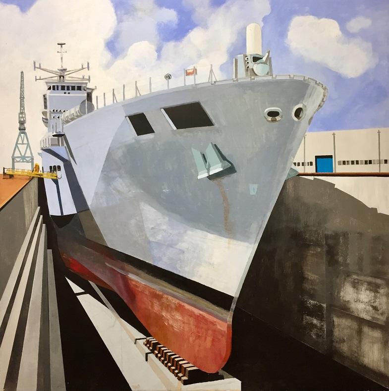 Dry Dock Acrylic on board 60x60cm frame 78x78cm £980