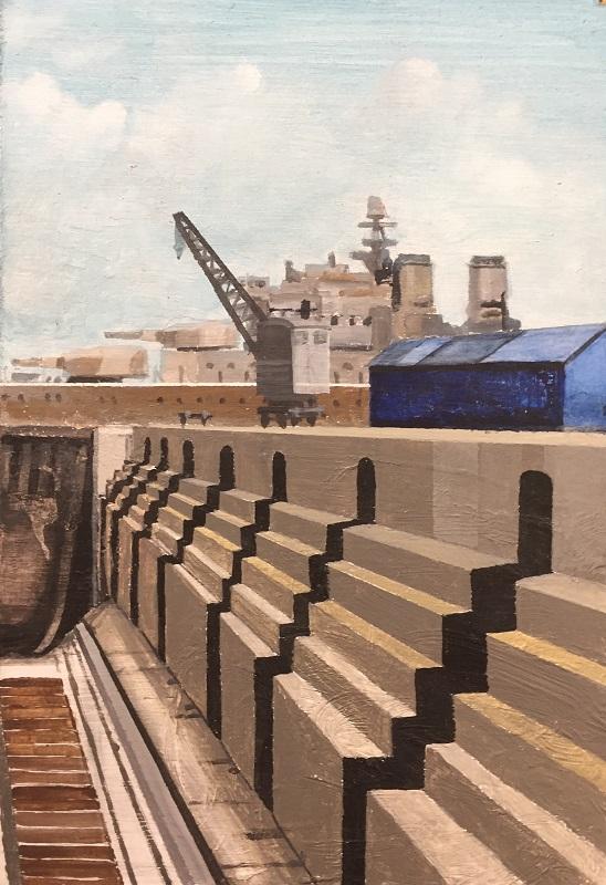 Dry Dock Study Acrylic on board 20x30cm frame 36x46cm £290