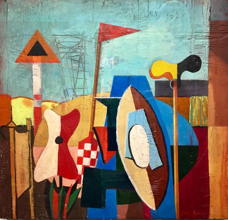 Objects in a Seascape Acrylic on board 48x51cm £530