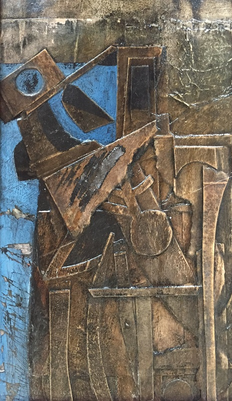 Dockyard Abstract mixed media 12x20cm £190