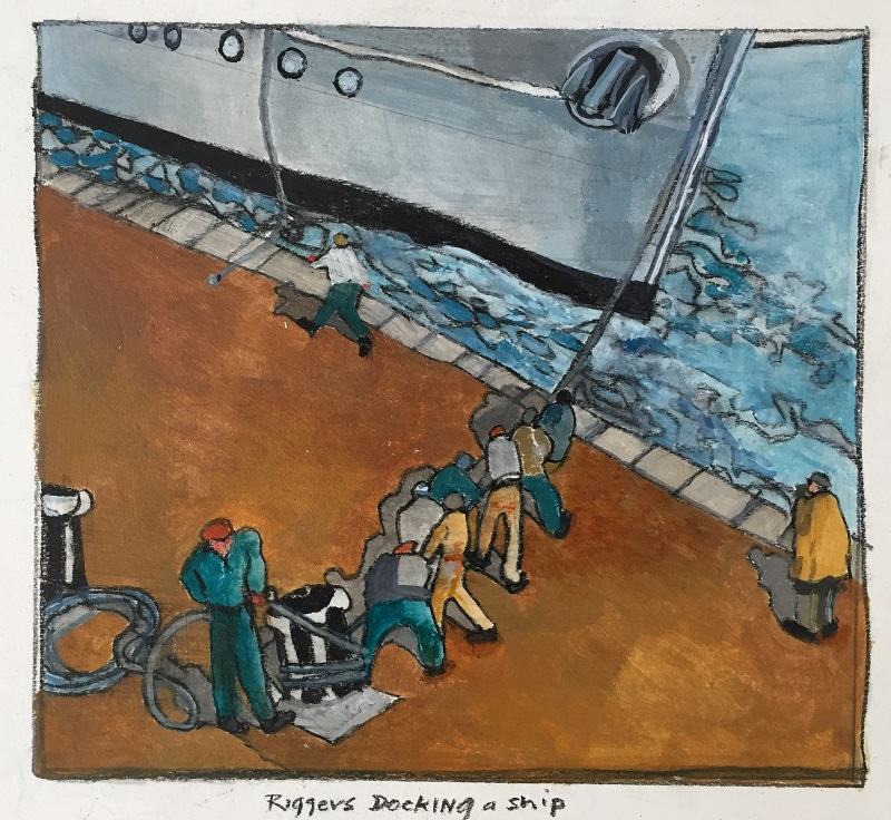Riggers Docking a Ship acrylic on board 25x20cm £160