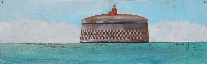 Spithead Fort acrylic on board 41x12.5cm frame 56x28cm £290