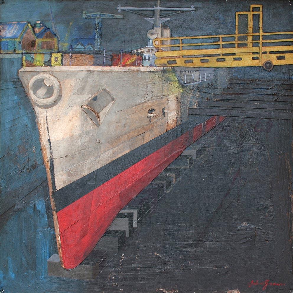 HMS Falmouth (Yellow Gantry) 60x60cm frame 80x80cm £1900