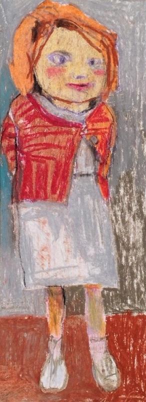 Little Girl pastel drawing 11x32cm frame 27x48cm £230