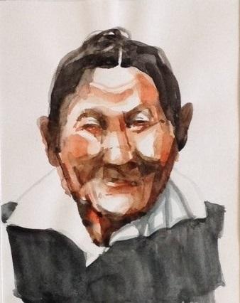 Smiling Woman watercolour 10x15cm £100