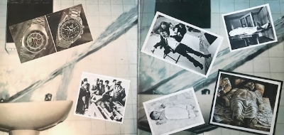 Inside album cover design by Derek Boshier for Lodger 1979 -Boshier was introduced to Bowie by the Photographer Brian Duffy   click for more