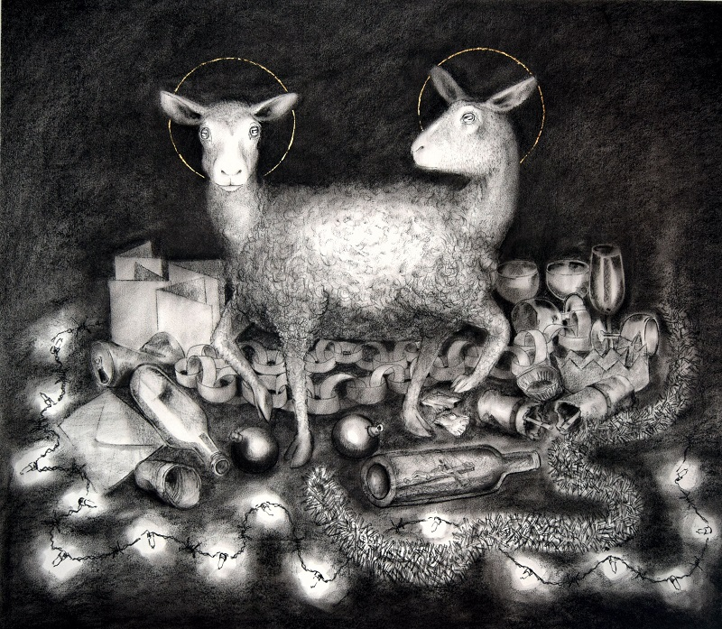 Baa Humbug charcoal and gold leaf by Pete Codling