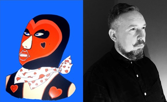 Artist Peter Lloyd and wrestler 'Tough Love'