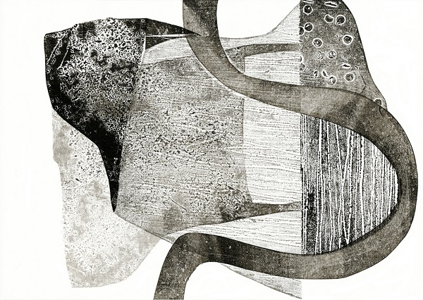 Tessa Holmes 'Cross Country 3' collograph & relief