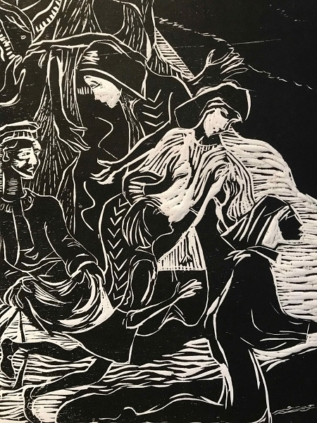 Helen Adie 'The Gatherers' woodcut