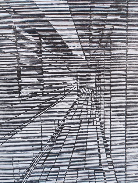 Irene Riley 'Jetty Passage' woodcut