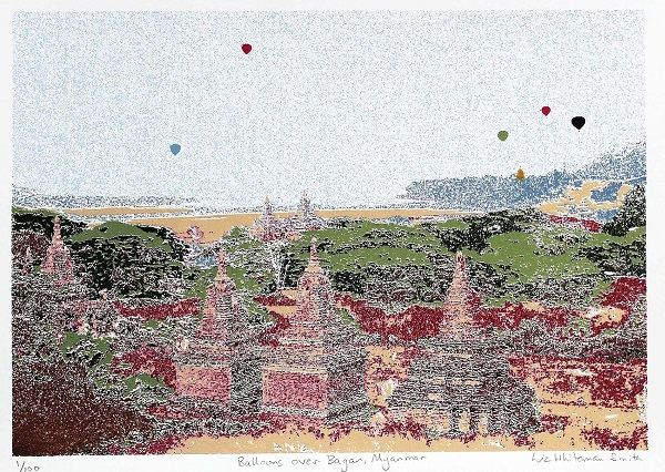 Liz Whiteman Smith ' Balloons over Baegan - Myanmar' screenprint