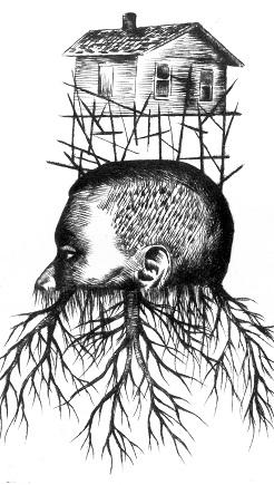 Mario Gonzalez 'Desarraigo/uprooting' drypoint