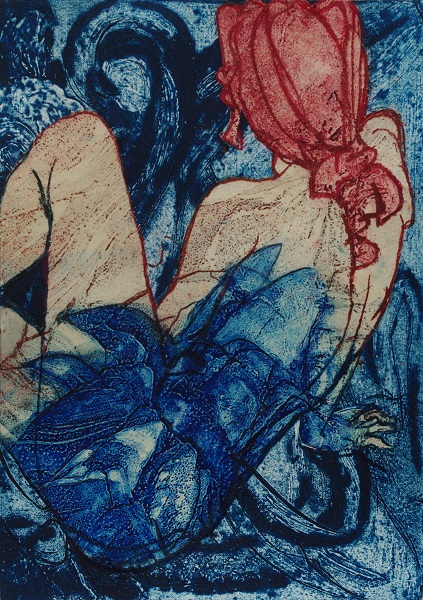Pauline Bradley 'Flora & the Blue Flower' etching, collograph & lithograph