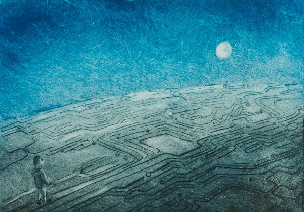 Rebecca Denton 'Earth Circuit' drypoint etching & monoprint