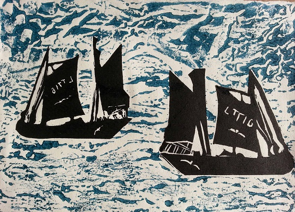 Jenny Rickman 'Out to find Fish' collograph & linocut