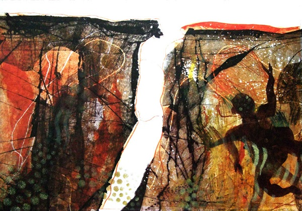 Ruth Barrett-Danes 'Look forward' monoprint & drypoint