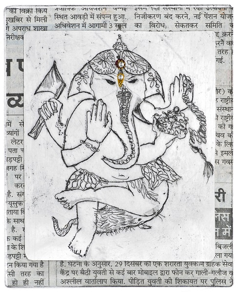 Francesca Souza 'Ganesh - Remover of Obstacles' etching with chine collee & bindi