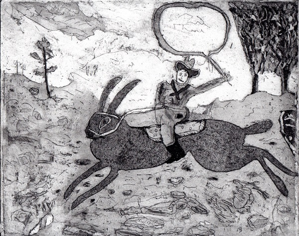 Trevor Dance 'The Hare Cowboy Rides Again' aquatint