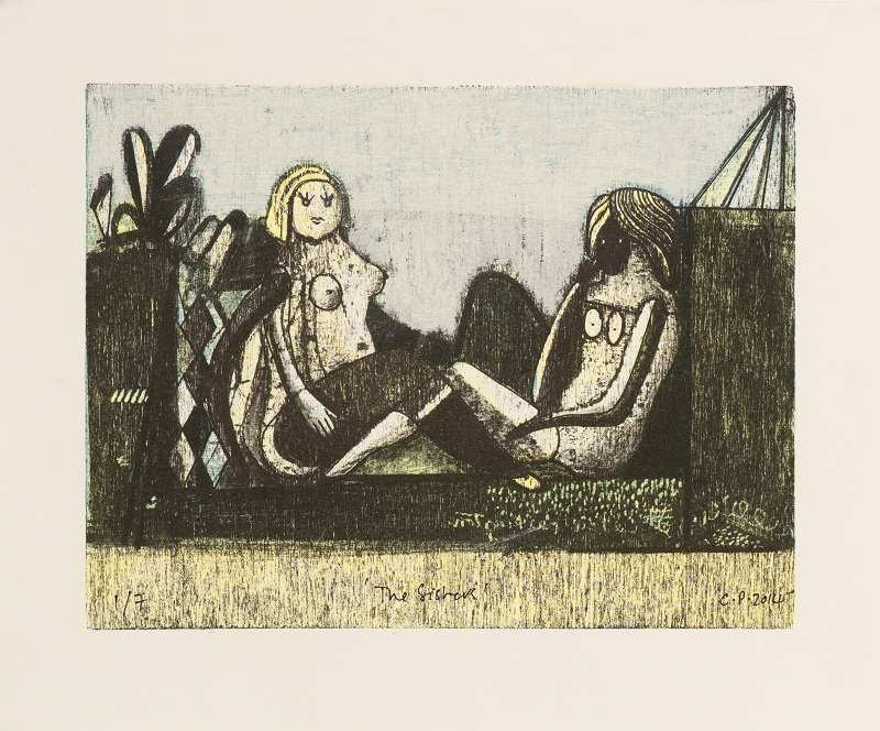 The Sisters 2014  Mokulito/lithograph & hand colouring 2/7 23x30cm £450